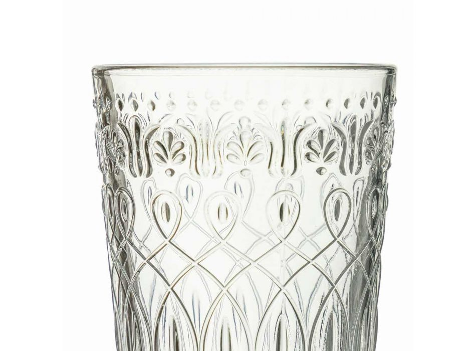 12 pahare decorate din sticlă transparentă pentru băuturi - Maroccobic