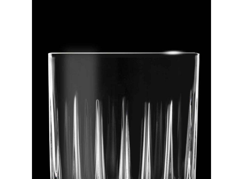 12 pahare de lichior în cristal ecologic cu decorațiuni liniare - Senzatempo