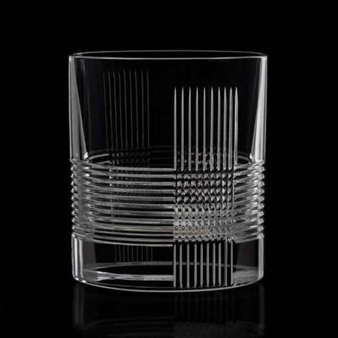 12 pahare pentru apă sau whisky Design vintage în cristal decorat - tactil