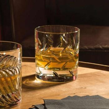 12 pahare pentru whisky sau apă în cristal ecologic cu decorațiuni moderne - aritmie