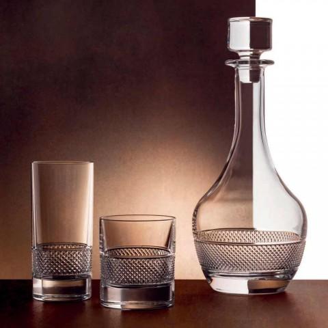 12 pahare înalte de pahar în cristal ecologic decorat de lux - Milito