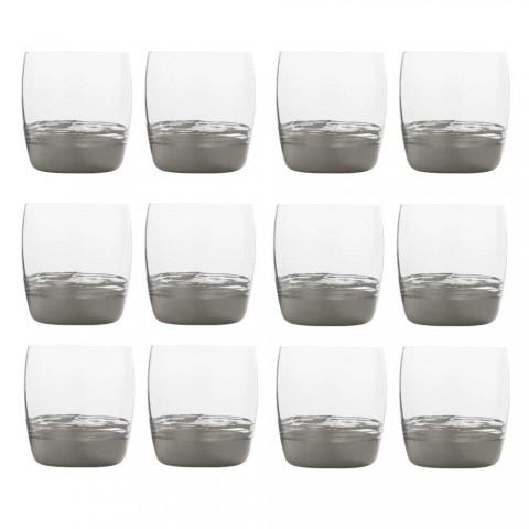 12 pahare cu pahare mici pentru apă cu frunze de aur, platină sau bronz - Soffio