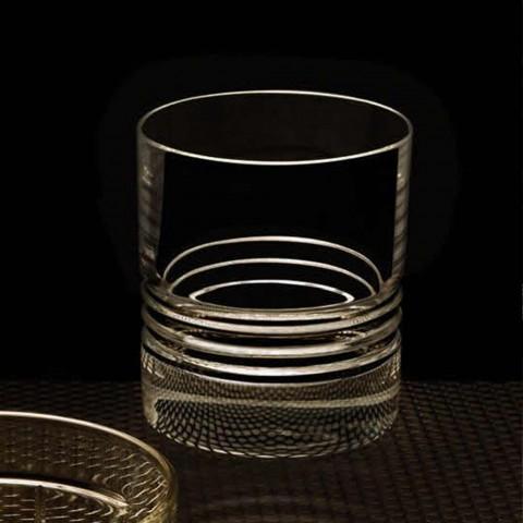 12 pahare duble de sticlă de whisky din cristal vechi - aritmie