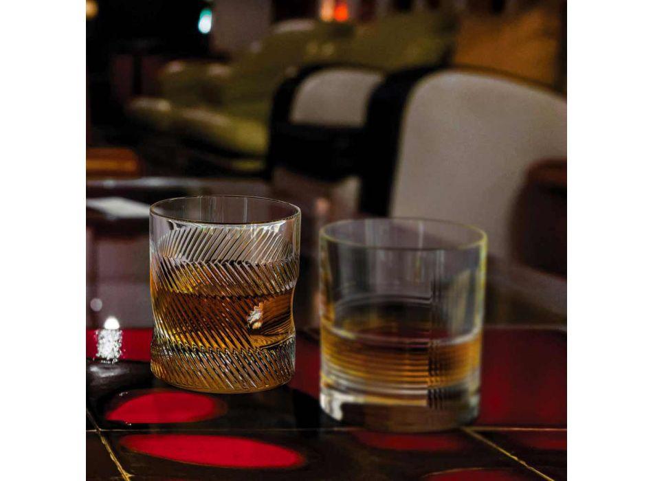 12 pahare de whisky sau apă în design vintage decorat cu cristale ecologice - tactil