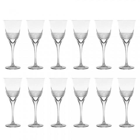 12 pahare de vin roșu în Eco Crystal Design elegant decorat - Milito