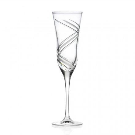 12 pahare cu flaut de șampanie în cristal ecologic decorat Made in Italy - Ciclon