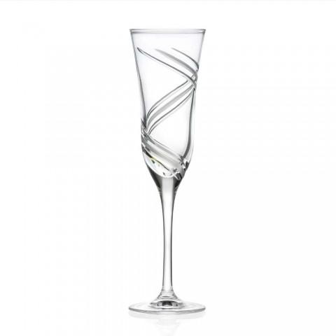 12 pahare cu flaut de șampanie în cristal ecologic decorat inovator - ciclon