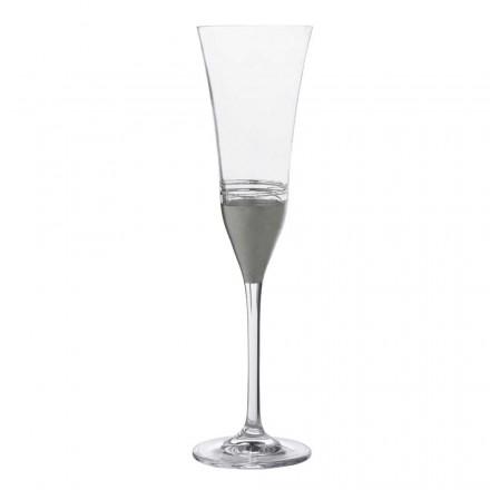 12 pahare de cristal cu flaut cu frunze de aur, bronz sau platină, lux - Soffio
