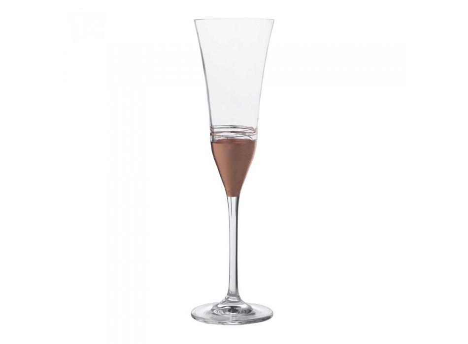 12 pahare de flaut de cristal cu bronz de aur de lux sau frunze de platină - Soffio