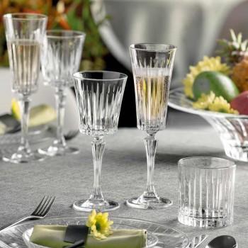 12 pahare cu flaut pentru vin spumant cu tăieturi liniare Decor în Eco Crystal - Senzatempo