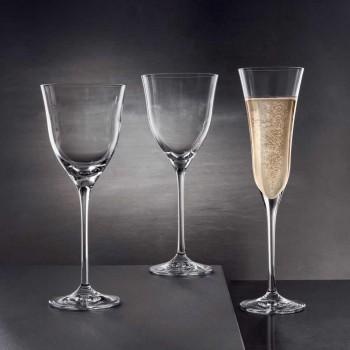 12 ochelari cu flaut în cristal ecologic de lux Minimal Design - neted