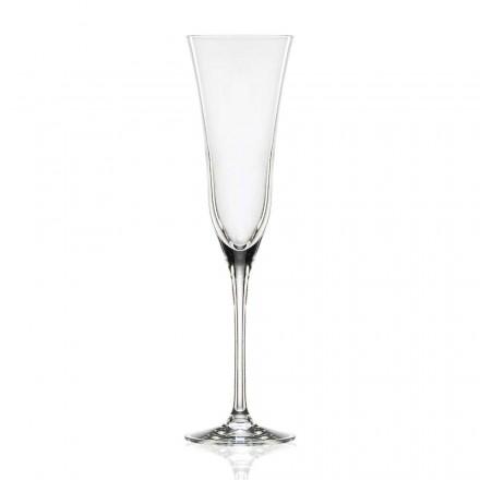 12 ochelari cu flaut în cristal de lux ecologic, design minimal - neted
