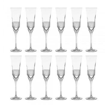 12 pahare pentru flaut pentru șampanie în cristal ecologic cu decor manual - Milito
