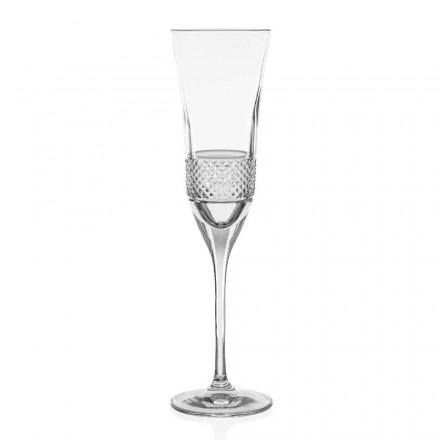 12 pahare ecologice din cristal cu șampanie, decorate manual - Milito