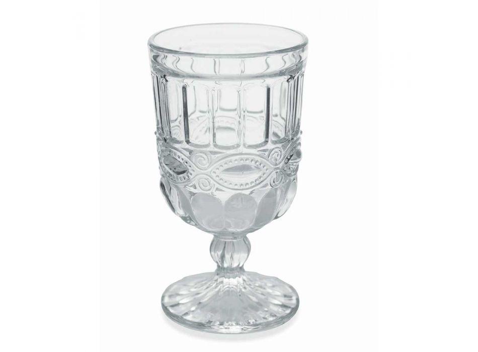 12 pahare din sticlă transparentă și decorată pentru masa de Crăciun - Garbobic