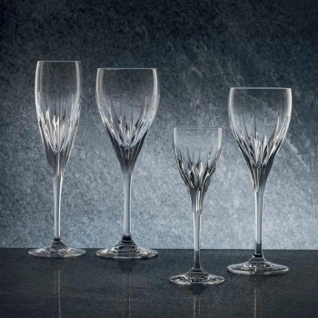 12 pahare de vin alb decorate manual în cristal ecologic de lux - Voglia