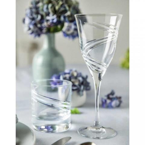 12 pahare pentru vin alb în cristal ecologic decorat și satinat - ciclon