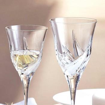 12 pahare de vin alb de lux, decorate manual, cu cristal ecologic - Advent