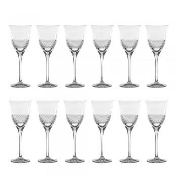 12 pahare de vin alb în design ecologic de cristal decorat de lux - Milito