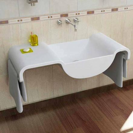 Design modern cu chiuvetă albă Wave fabricat în Italia