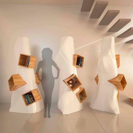 Biblioteca de design modern din lemn și K2 Solid Surface făcute în Italia