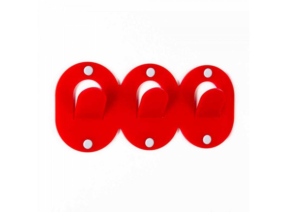 2 Cuier de perete triplu în design colorat în plexiglas - Freddie