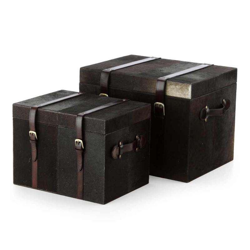 2 trunchiuri de design întuneric ponei brun Ceskini, mari și mici