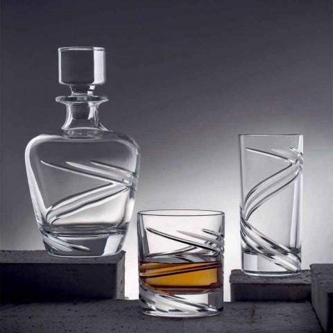 2 sticle de whisky în cristal ecologic artizanal italian - ciclon
