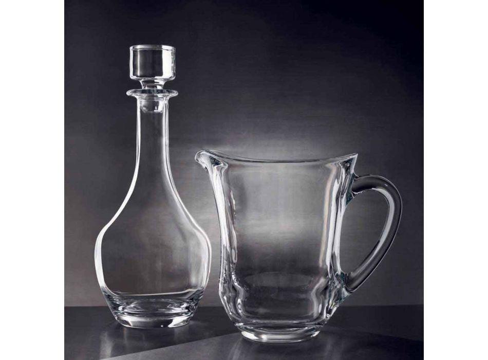 2 sticle pentru vinuri în cristal ecologic, design minimal italian - neted