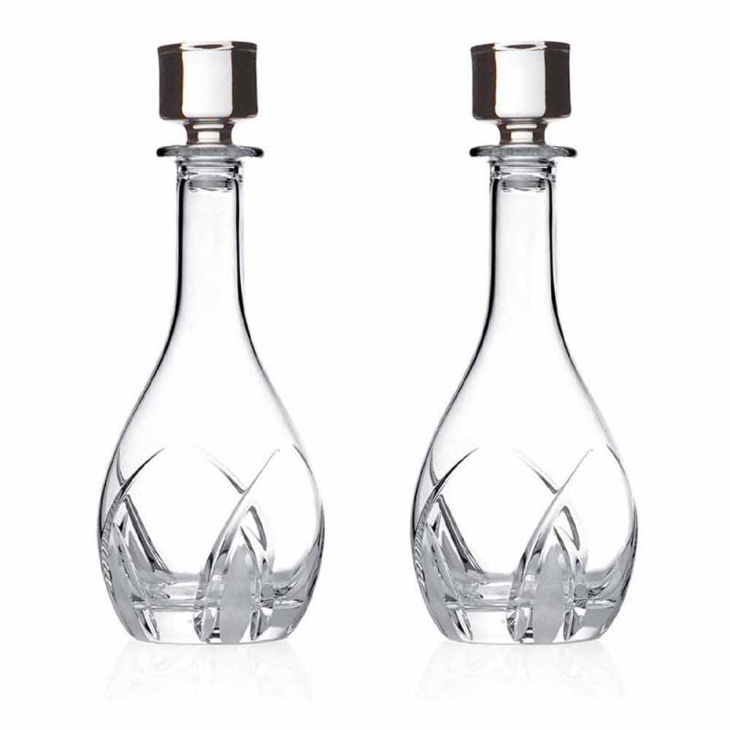 2 sticle de vin cu capac rotund de design în Eco Crystal - Montecristo
