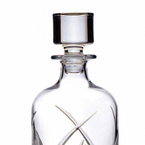 2 sticle de whisky cu capac cilindric de design în cristal ecologic - Montecristo