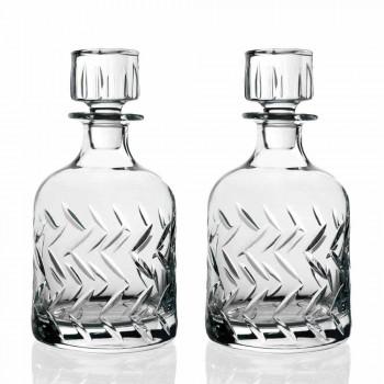 2 sticle de whisky de cristal ecologice cu capac decorativ vintage - aritmie
