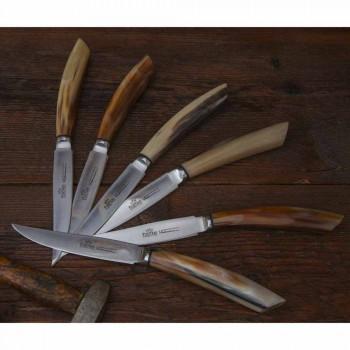 2 cuțite pentru friptură cu mâner în corn de lemn sau lemn fabricate în Italia - Marino