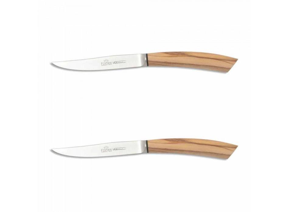 2 cuțite pentru friptură cu mâner din corn sau lemn Fabricate în Italia - Marino