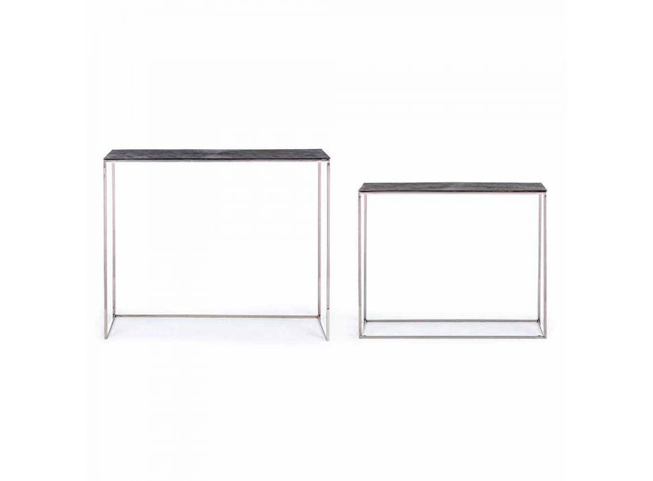 2 Console din oțel și aluminiu placat Design modern Homemotion - Narnia