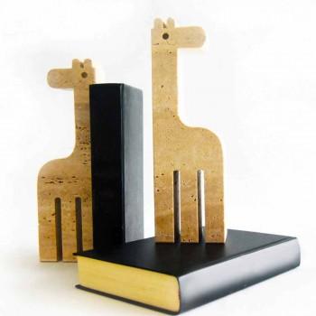 2 Suporturi de cărți în marmură de travertin în formă de girafă Made in Italy - Morra