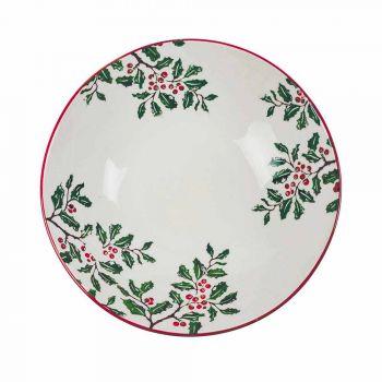 2 boluri pentru salate cu decorațiuni de Crăciun în farfurii de porțelan - mătură de măcelar