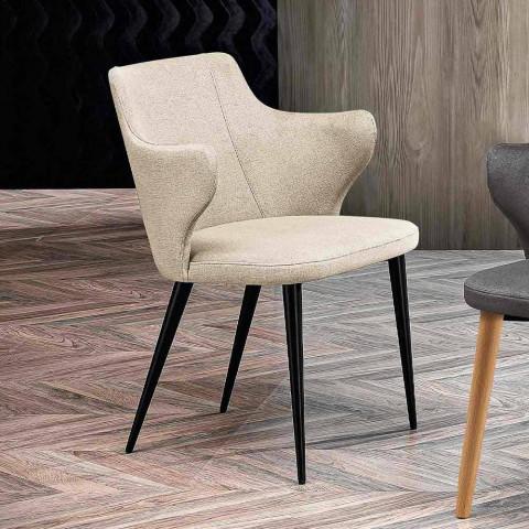 2 fotolii de sufragerie elegante, țesături colorate și metal negru - ducesă