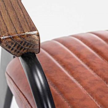 2 scaune cu cotiere în piele piele cu efect vintage Homemotion - Clare