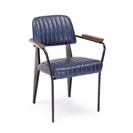 2 scaune vintage din piele cu efect de piele Homemotion cu cotiere - Clare