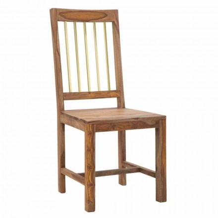 Pereche de 2 scaune de bucătărie cu design complet în lemn - nisip