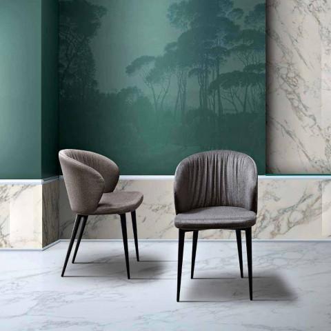 2 scaune de sufragerie din țesătură și frasin de design elegant - Reginaldo