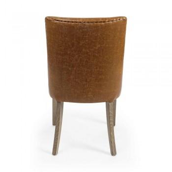 2 scaune de design în piele maro și lemn de stejar Homemotion - Gallia