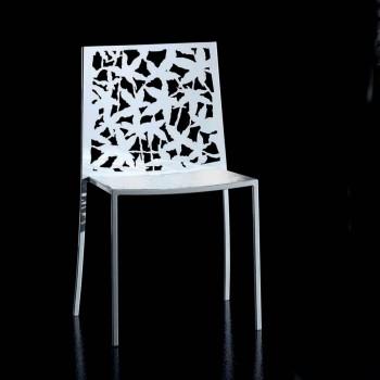 2 scaune cu design modern, sculptate cu laser, din metal alb - Patatix