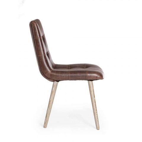 2 scaune moderne în stil industrial, acoperite în piele de mătase Homemotion - Riella