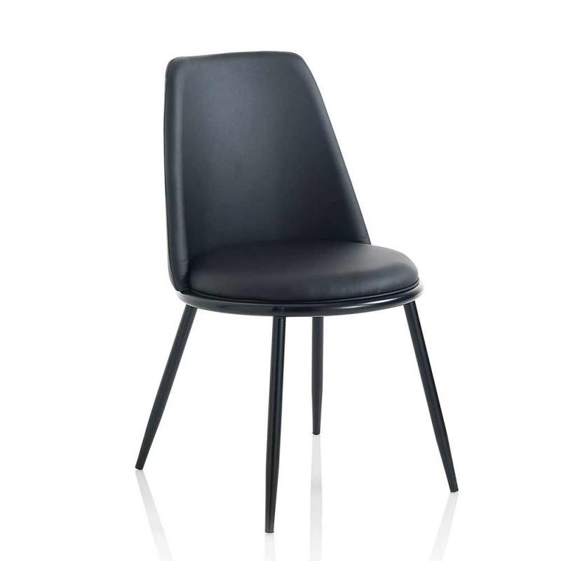 2 scaune moderne de sufragerie în piele și metal negru mat - Frizzi