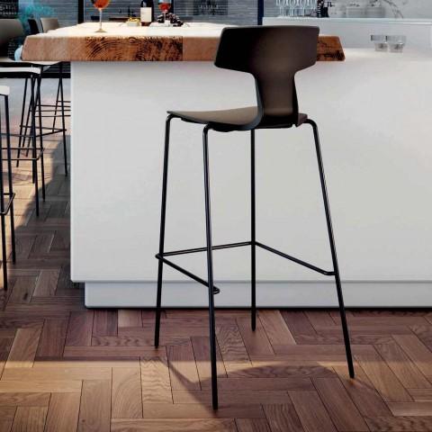 2 taburete de bare stivuibile din metal și polipropilenă Made in Italy - Arlette
