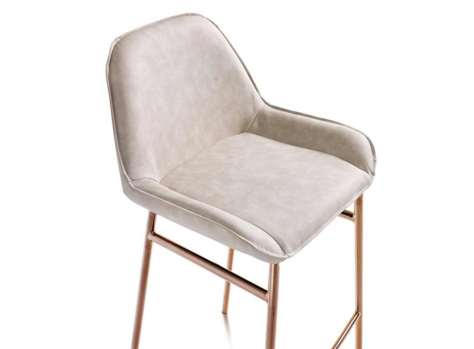 2 Scaune moderne din metal cu scaun din microfibră sau imitație de piele - Bellino