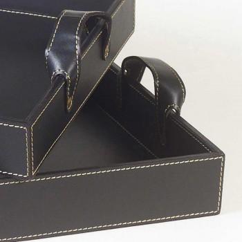 2 din piele neagră proiectează 41x28x5cm Tava și 45x32x6cm Anastasia