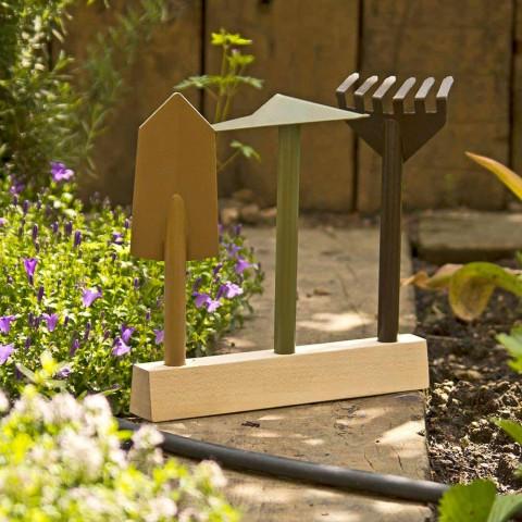 3 Instrumente de grădinărit din metal cu bază din lemn Made in Italy - Grădină